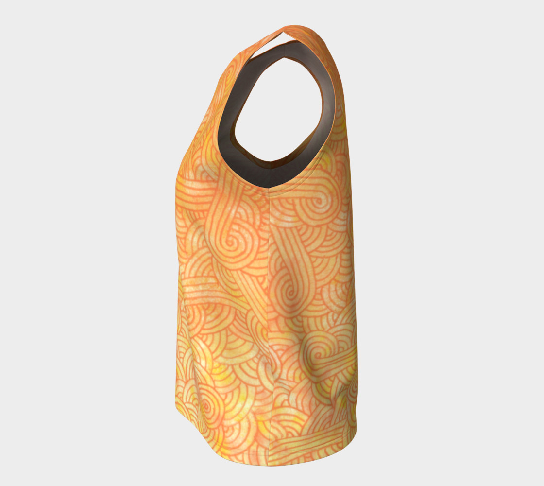 Yellow and orange swirls doodles Loose Tank Top Miniature #8