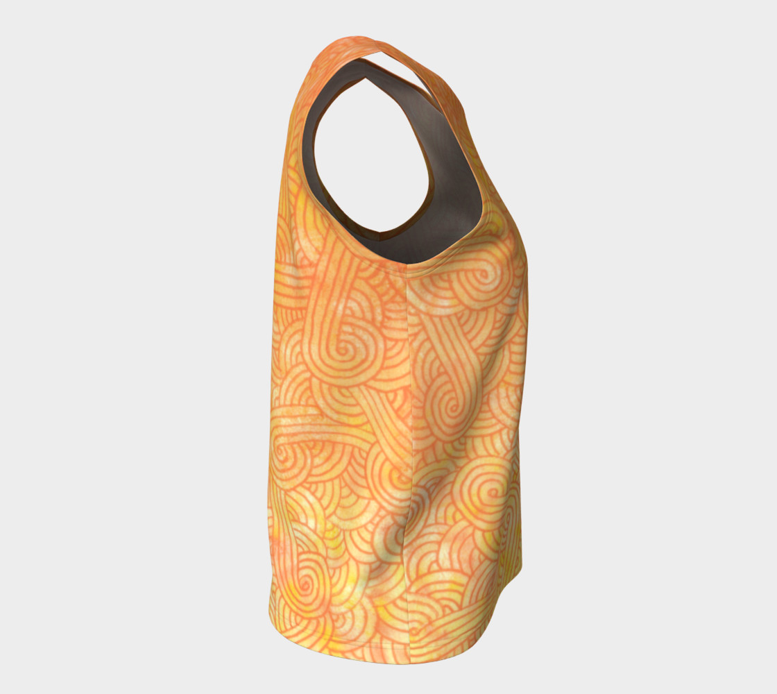 Yellow and orange swirls doodles Loose Tank Top Miniature #9