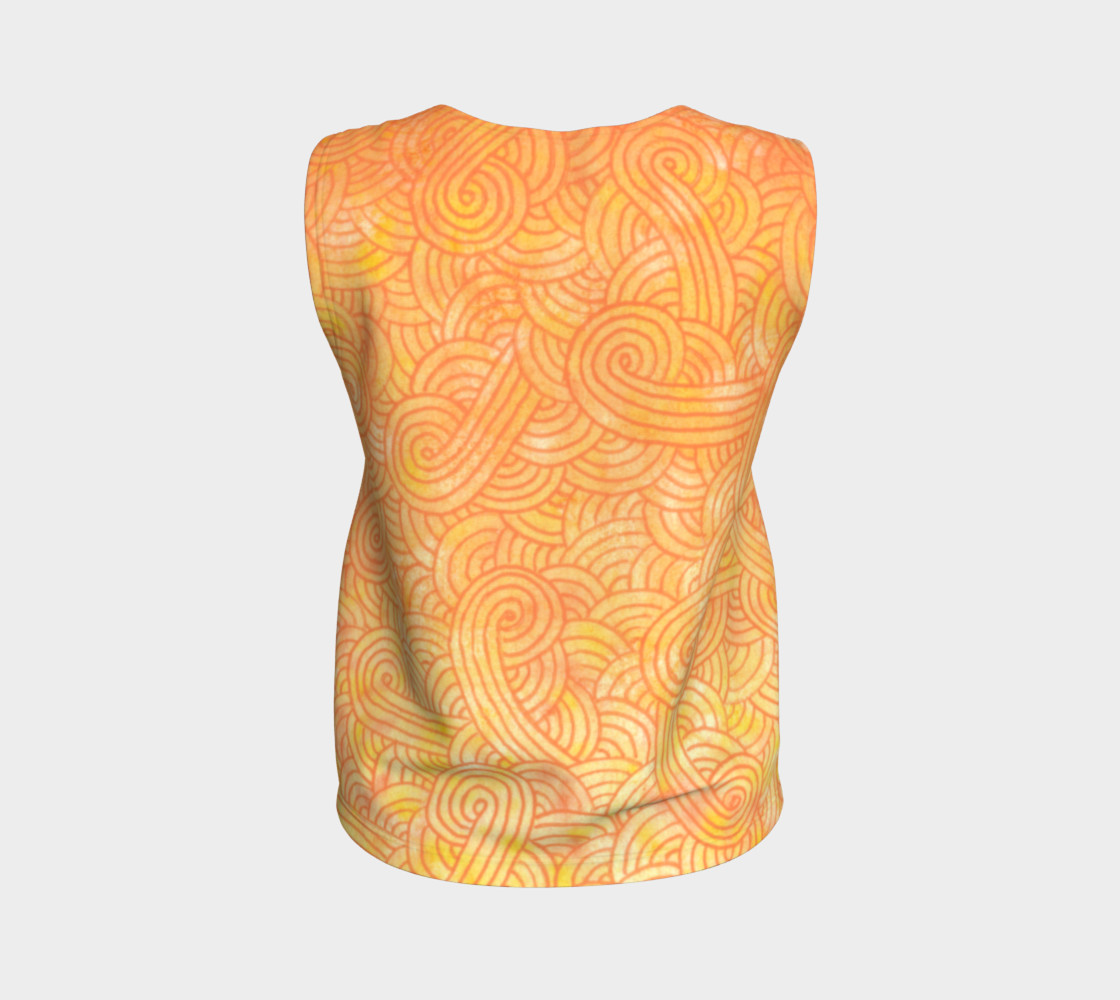 Yellow and orange swirls doodles Loose Tank Top Miniature #3