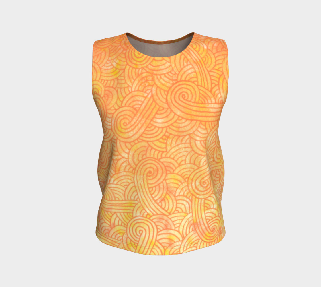 Yellow and orange swirls doodles Loose Tank Top Miniature #2