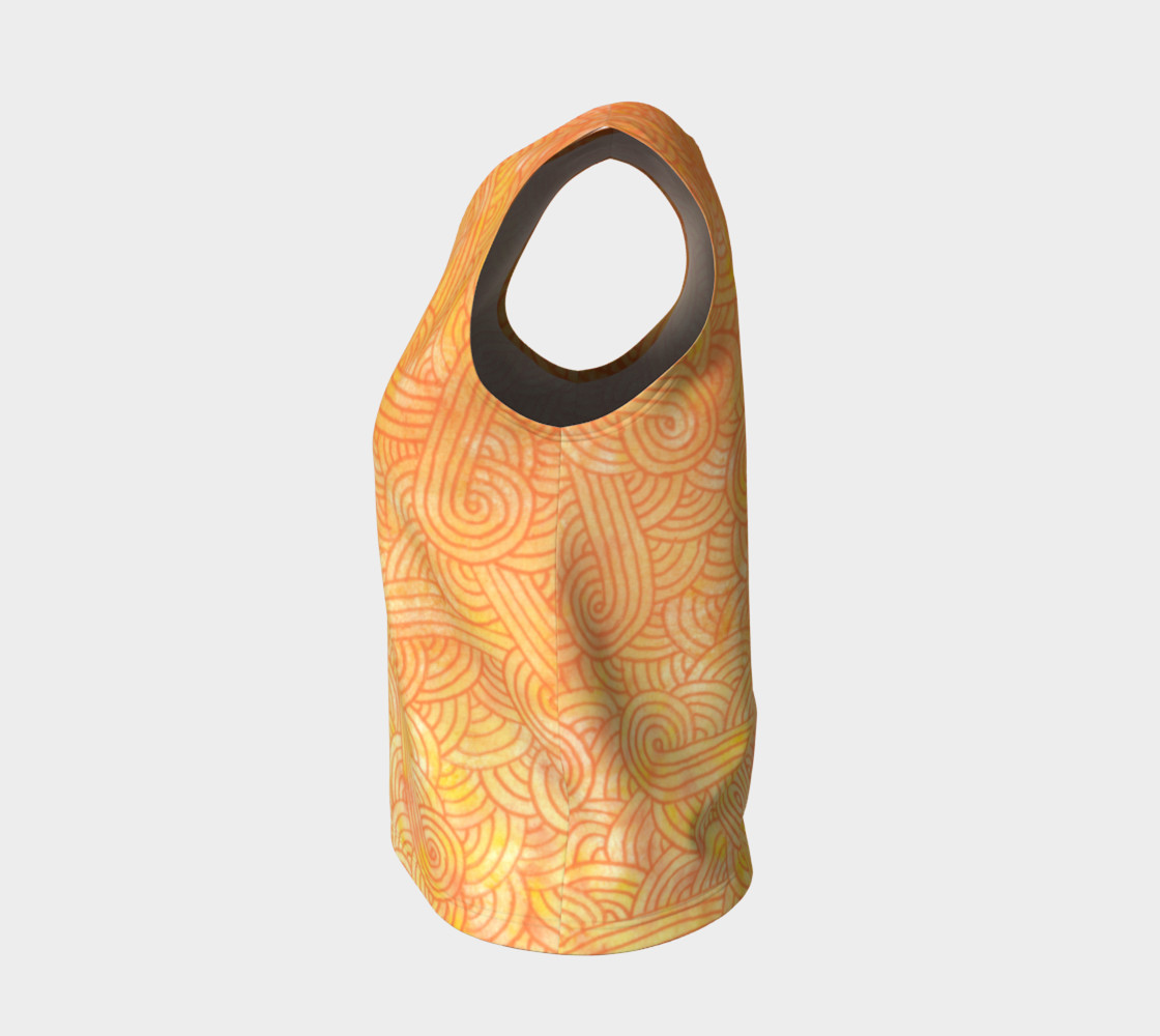 Yellow and orange swirls doodles Loose Tank Top Miniature #4