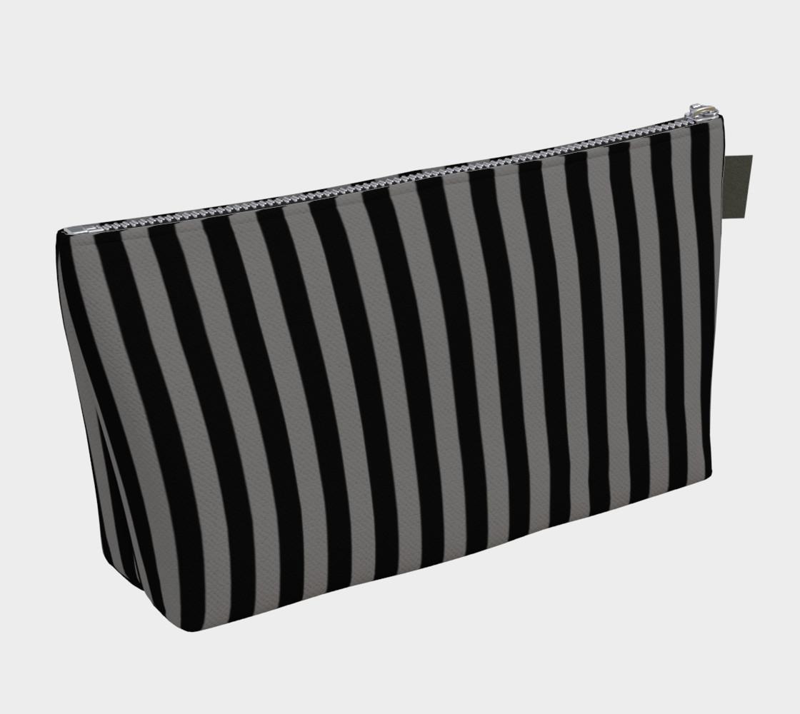 Aperçu de Half Inch Black and Medium Grey Vertical Stripes #2