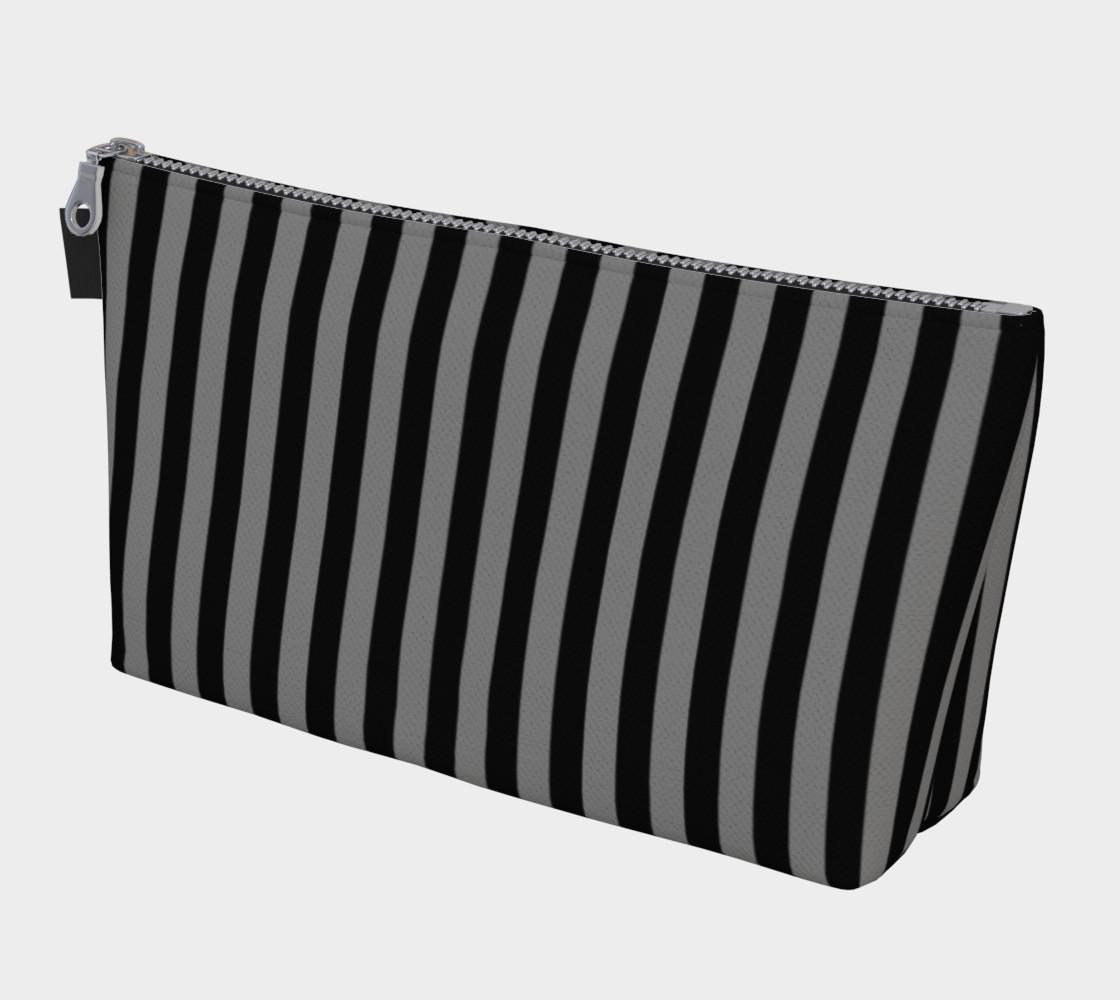 Aperçu de Half Inch Black and Medium Grey Vertical Stripes #1