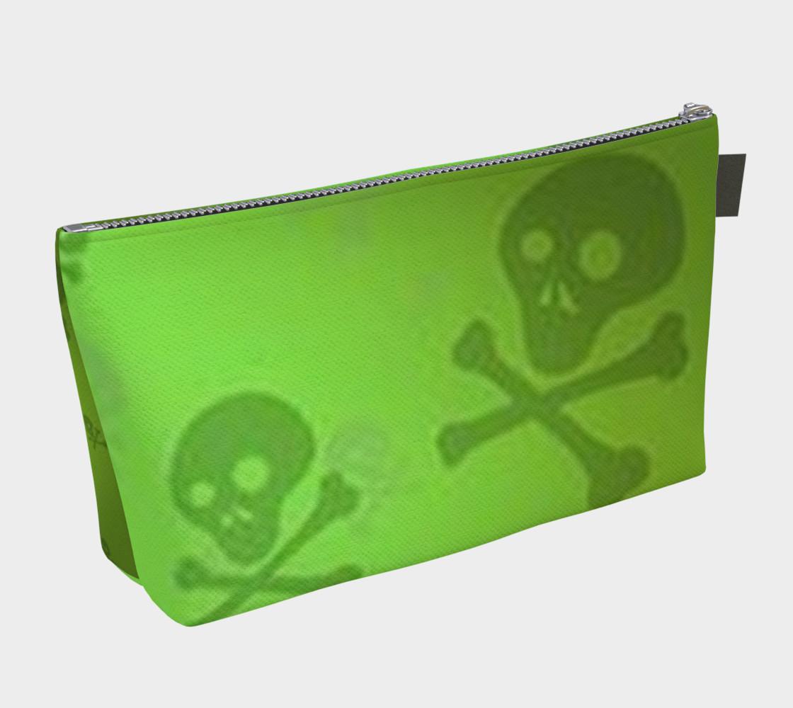 Cartoon Skull On Green Makeup Bag preview #2
