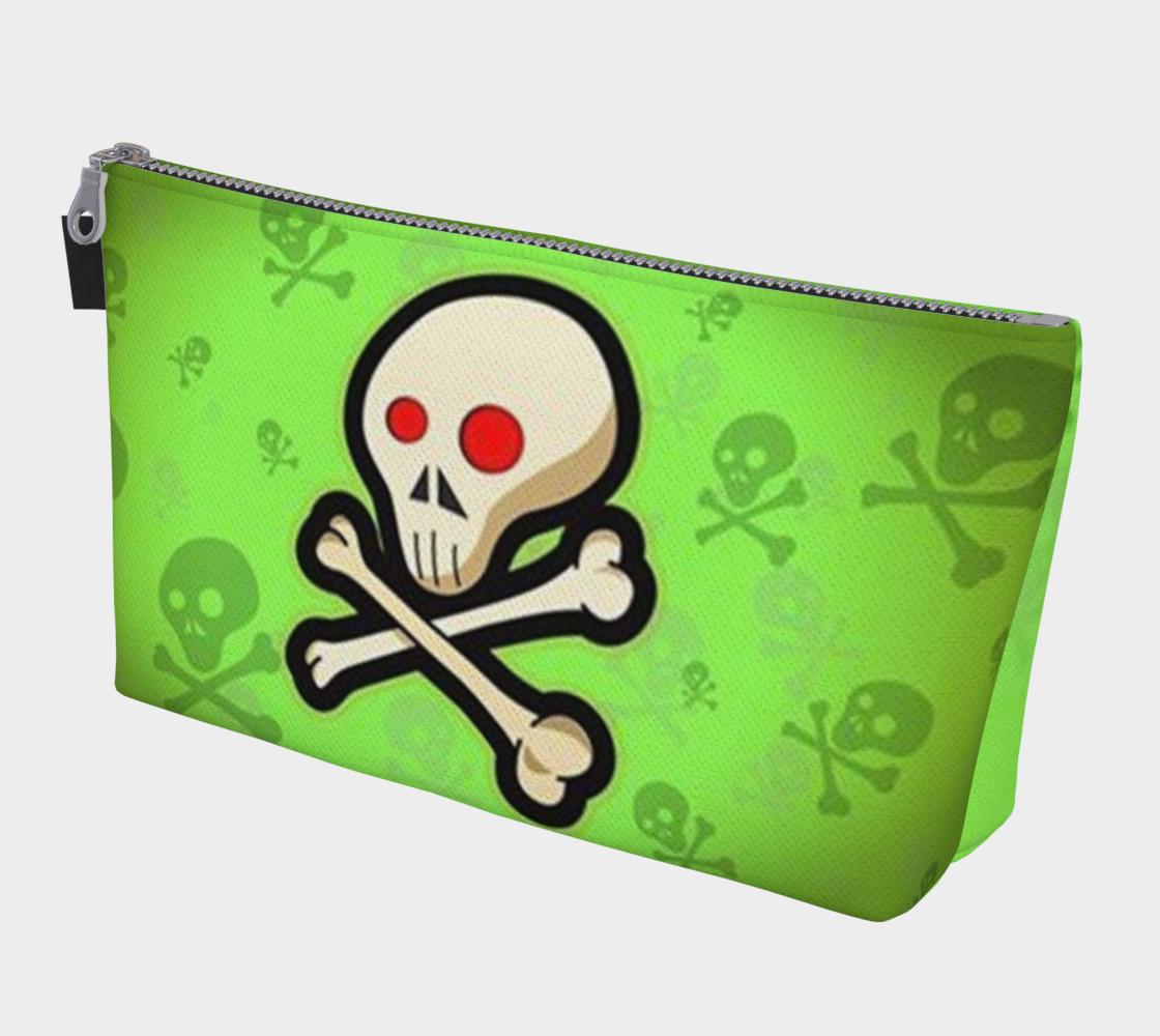 Cartoon Skull On Green Makeup Bag preview #1