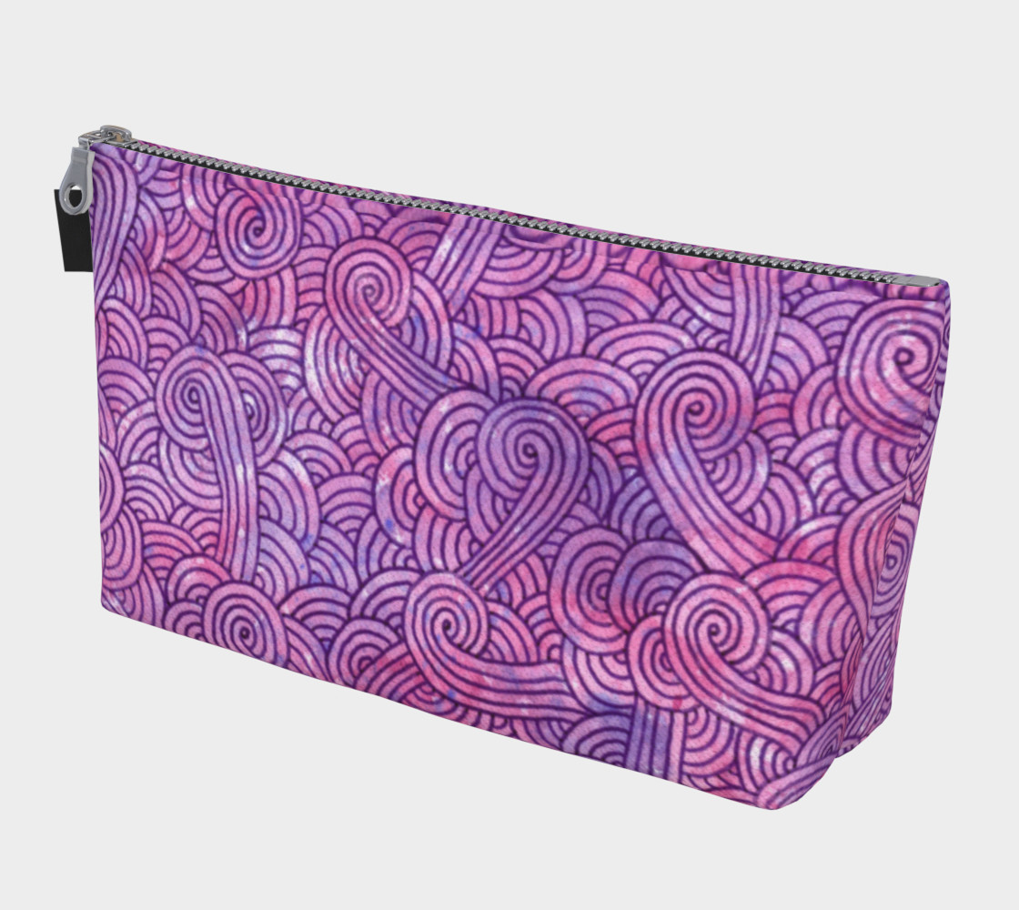 Aperçu de Neon purple and pink swirls doodles Makeup Bag #1
