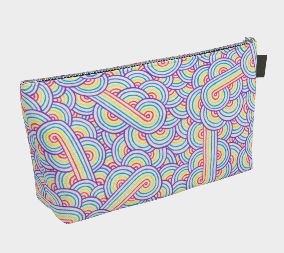 Aperçu de Rainbow and white swirls doodles Makeup Bag #2