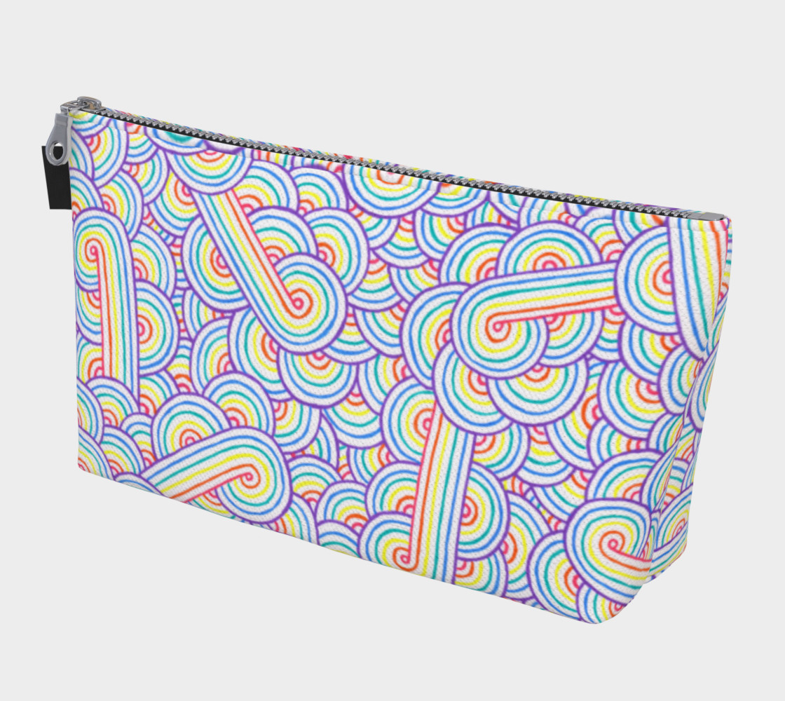 Aperçu de Rainbow and white swirls doodles Makeup Bag #1