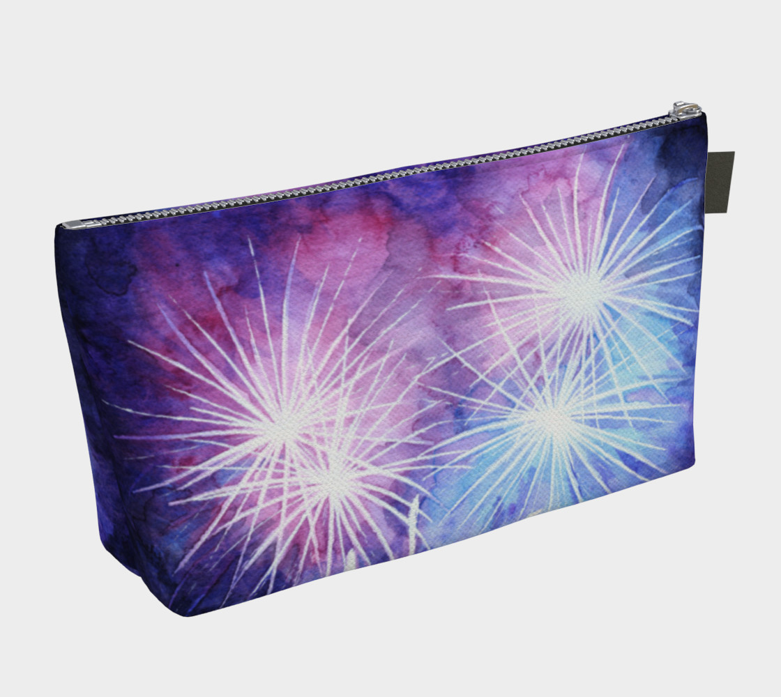 Blue and pink fireworks Makeup Bag preview #2