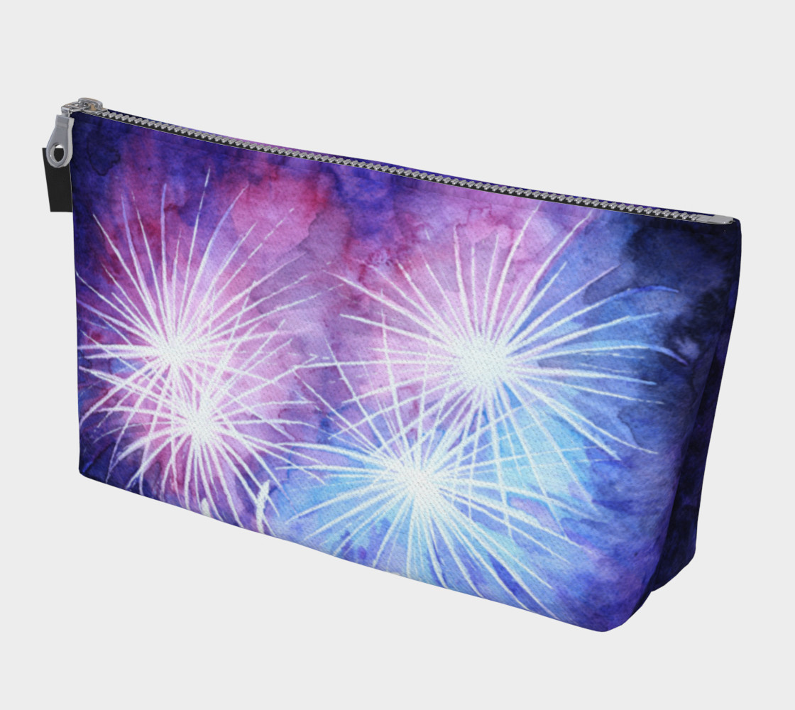 Blue and pink fireworks Makeup Bag preview #1