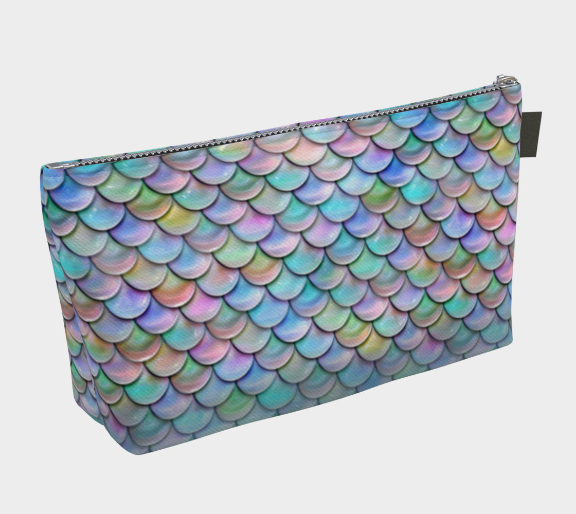 Pastel Rainbow Mermaid Makeup Gear Bag with Pocket preview #2