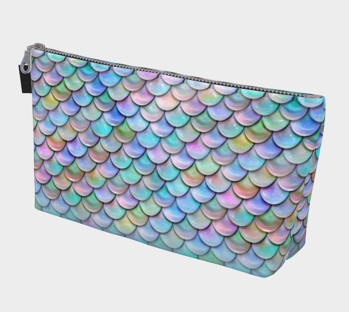 Pastel Rainbow Mermaid Makeup Gear Bag with Pocket preview #1