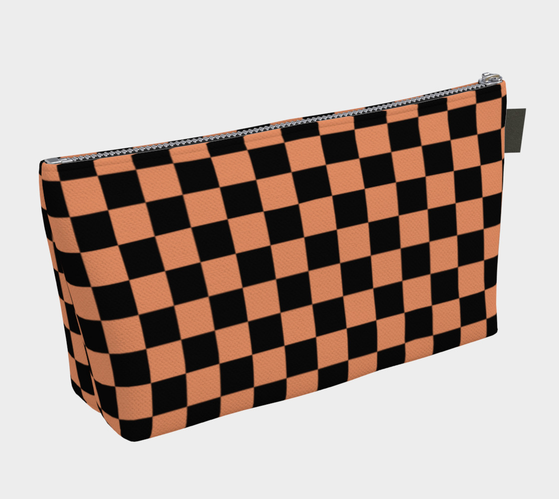 Aperçu de Black and Peach Checkerboard Squares #2
