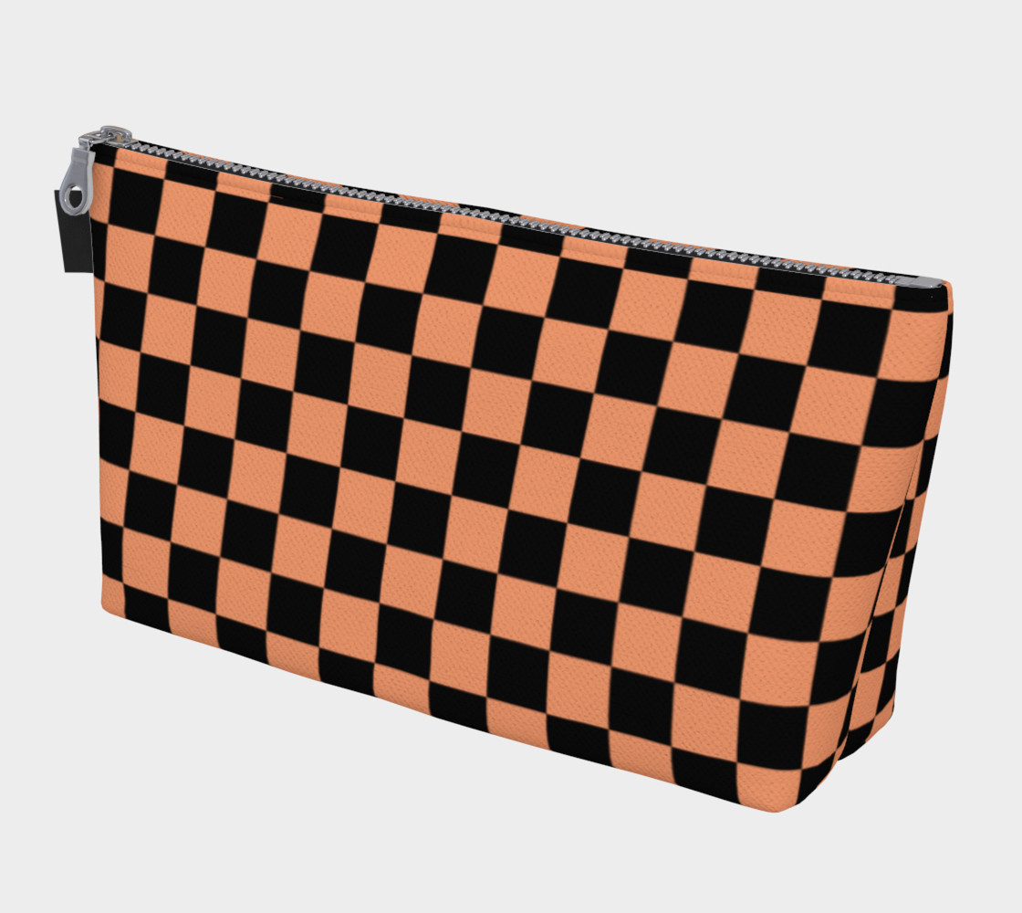 Aperçu de Black and Peach Checkerboard Squares #1