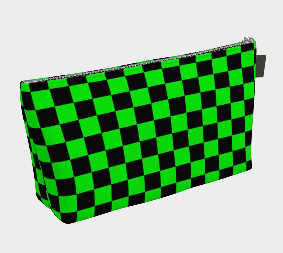 Aperçu de Black and Lime Green Checkerboard Squares #2