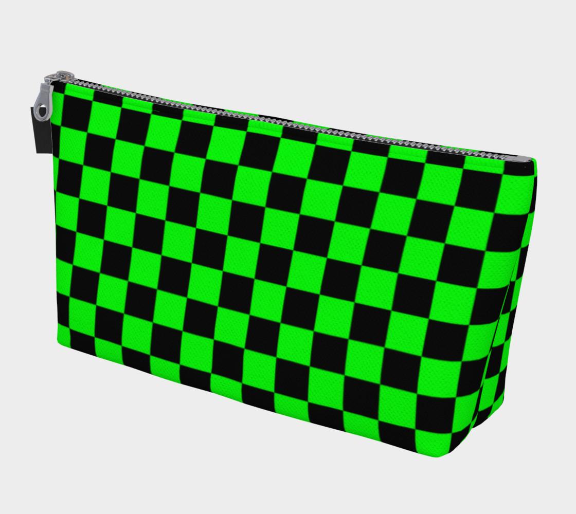 Aperçu de Black and Lime Green Checkerboard Squares #1