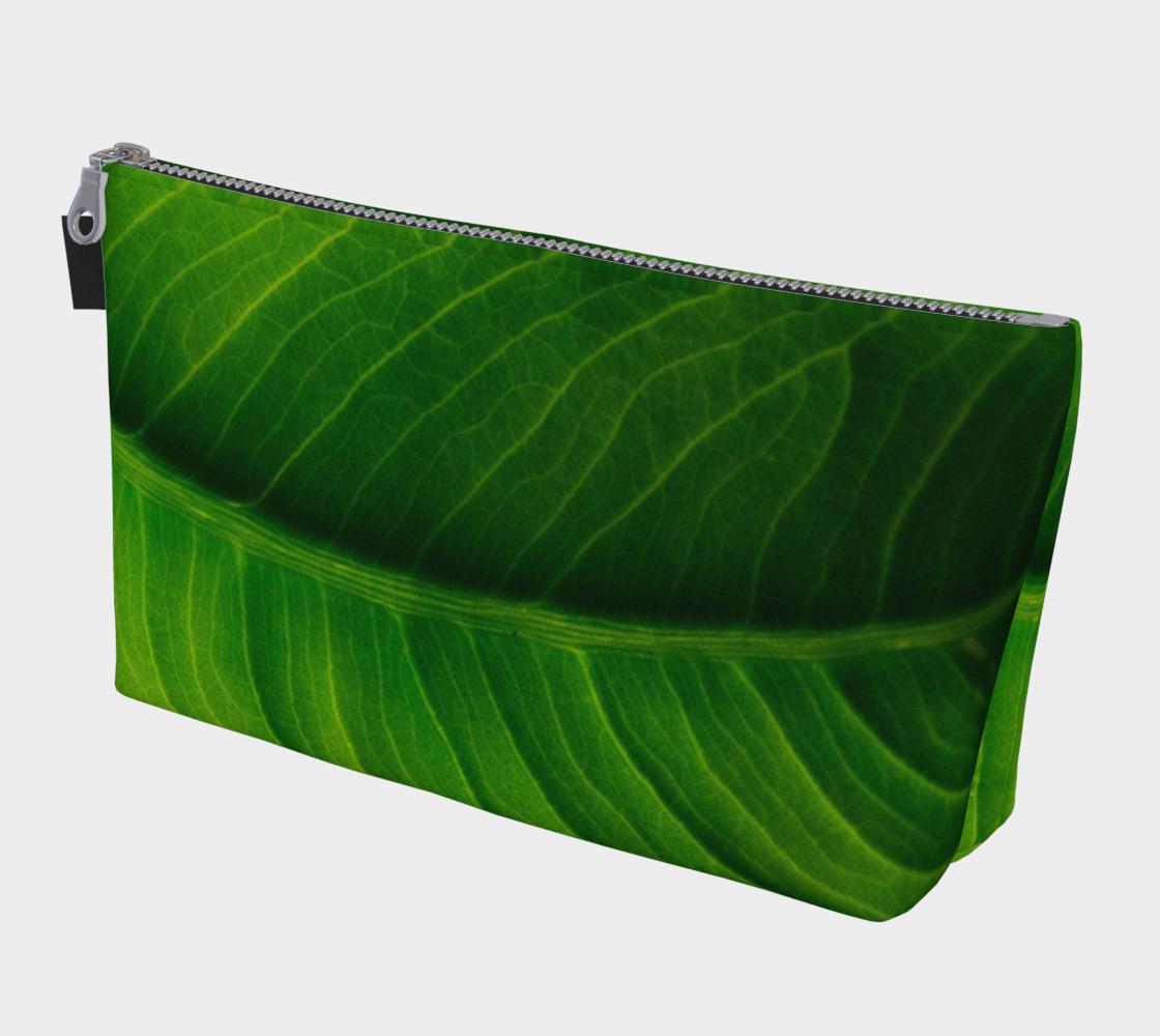 Aperçu de Green Elephant Ear Leaf Makeup Bag #1