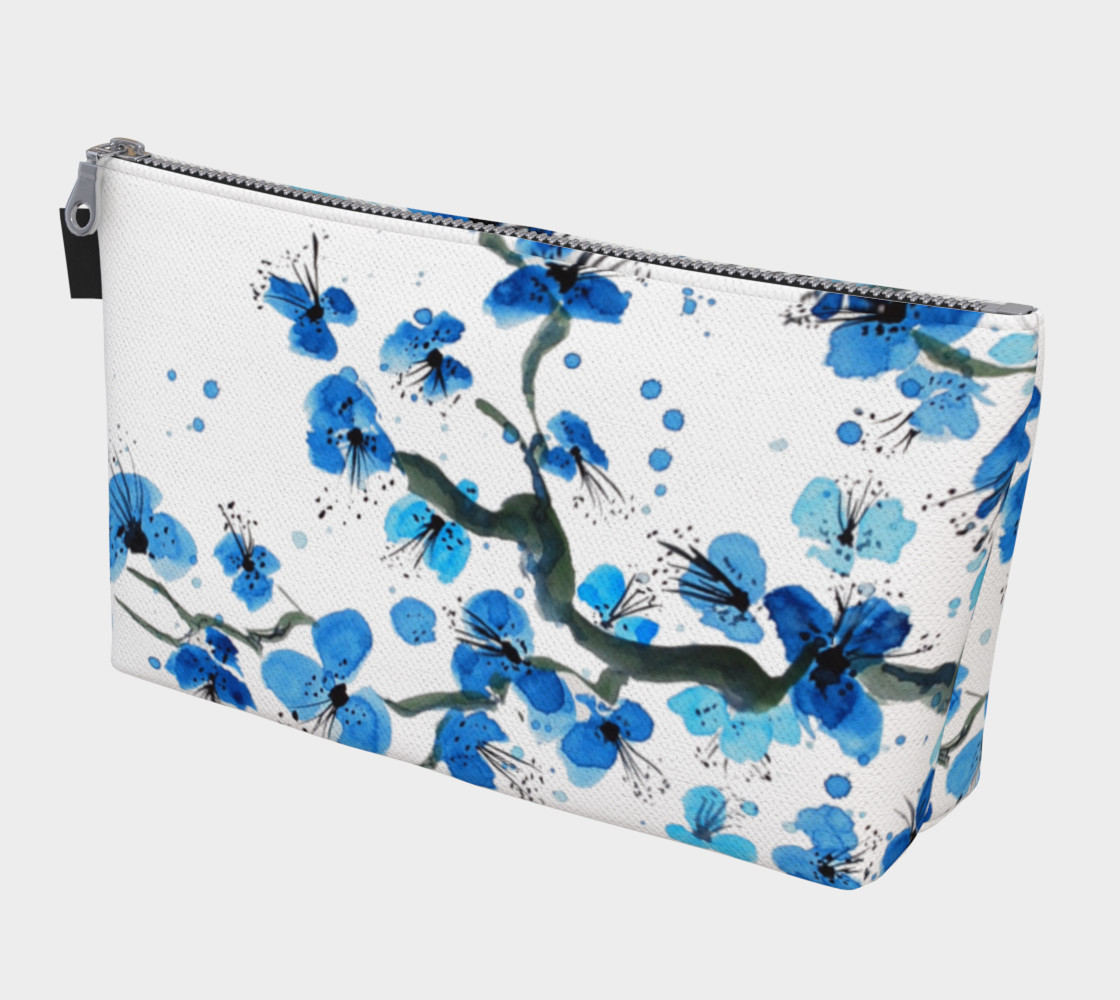 Blue Anese Blossoms Makeup Bag