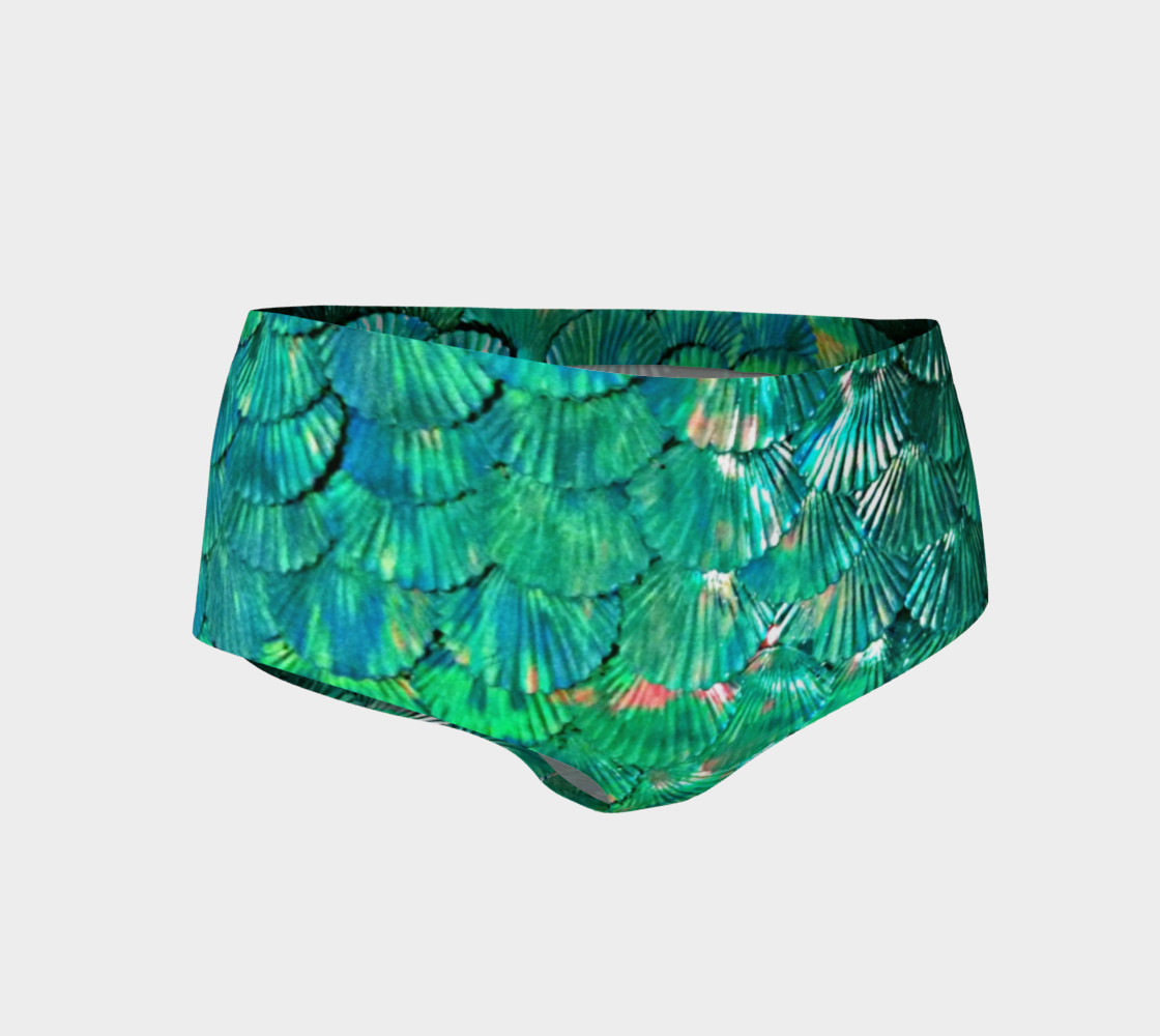 Green Mermaid Scale Booty Shorts  preview #1