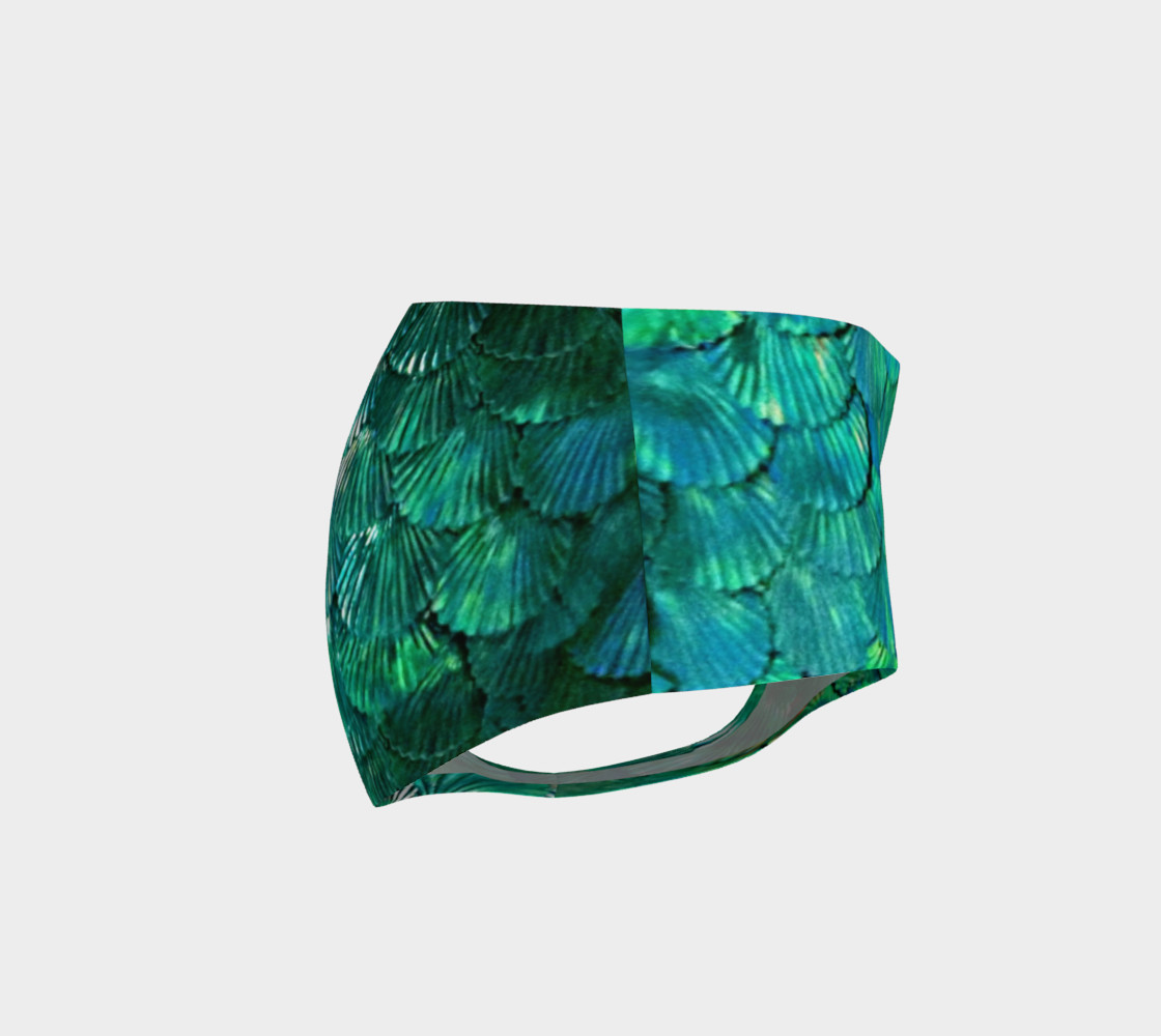 Green Mermaid Scale Booty Shorts  preview #4