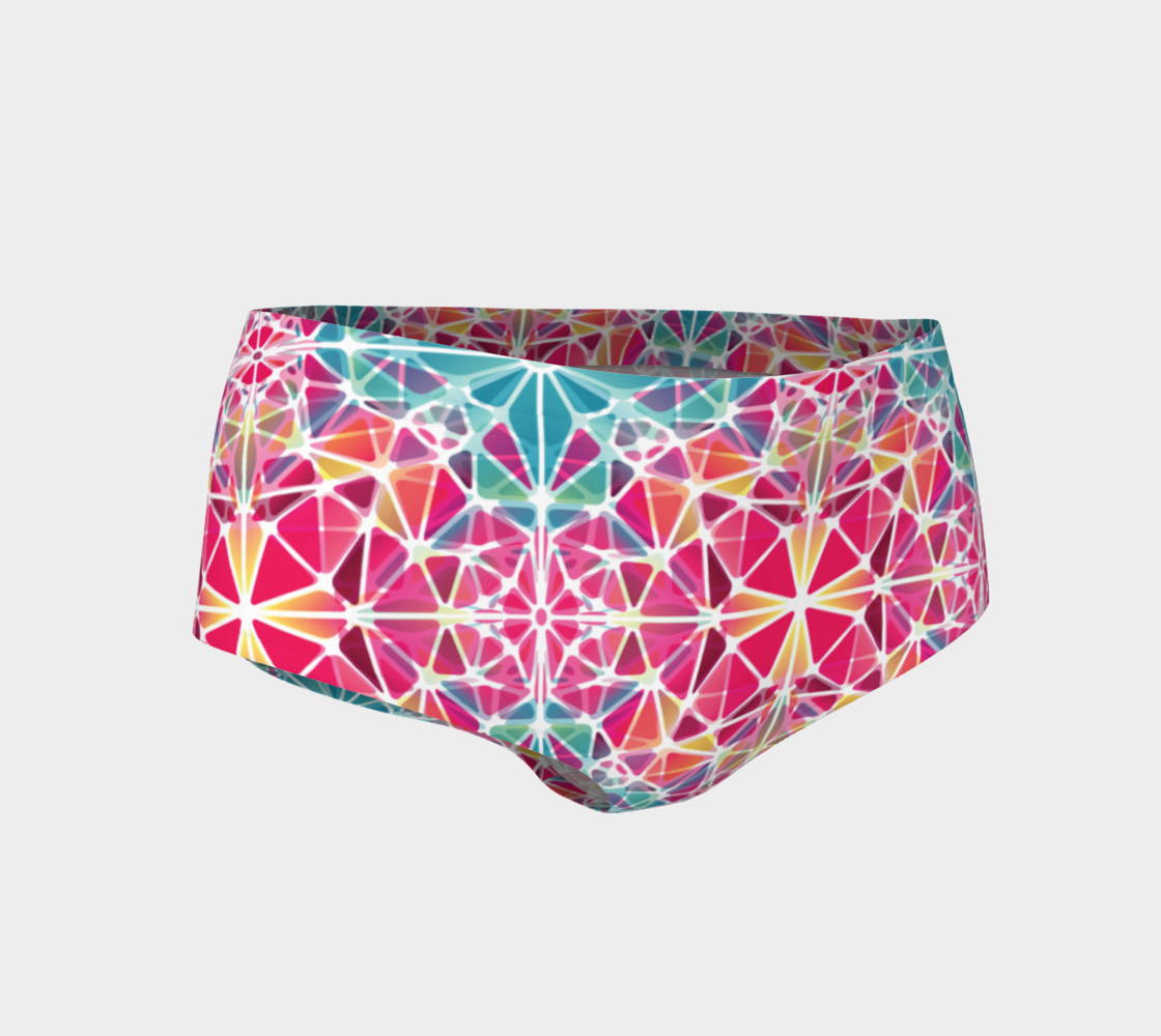 Pink and Blue Kaleidoscope Mini Shorts 3D preview