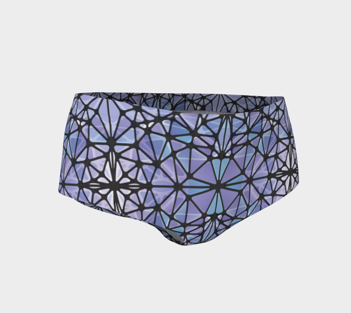 Purple and Blue Kaleidoscope Mini Shorts preview #1