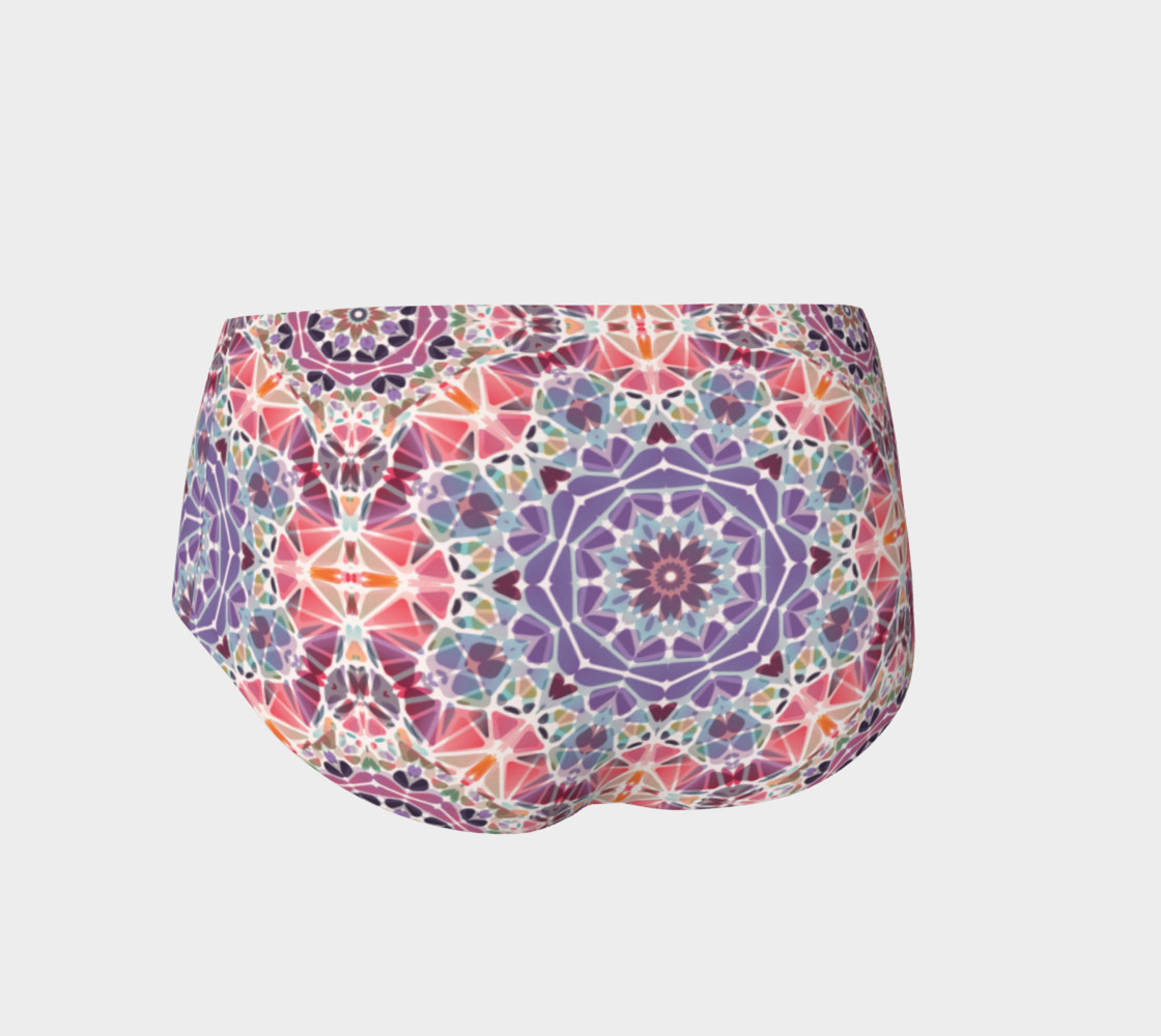 Purple and Pink Kaleidoscope Mini Shorts preview #2