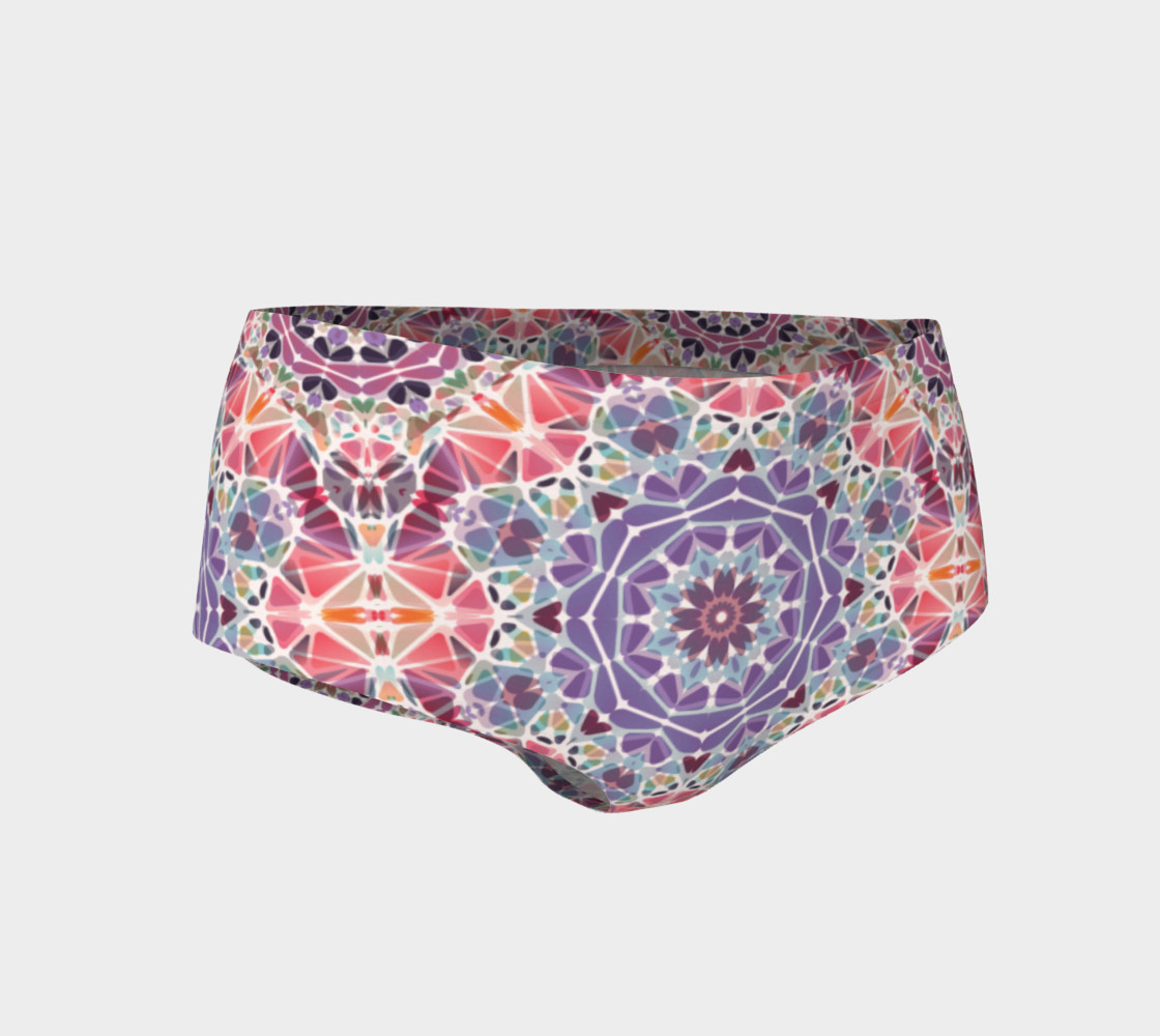 Purple and Pink Kaleidoscope Mini Shorts preview #1