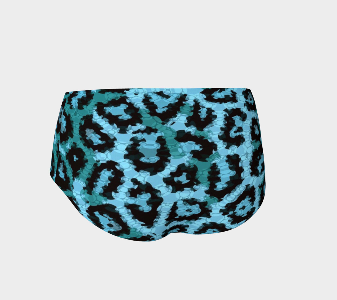 Shocking Turquoise Cheetah Print Mini Shorts  preview #2