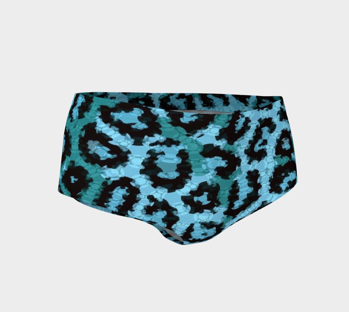 Shocking Turquoise Cheetah Print Mini Shorts  preview #1