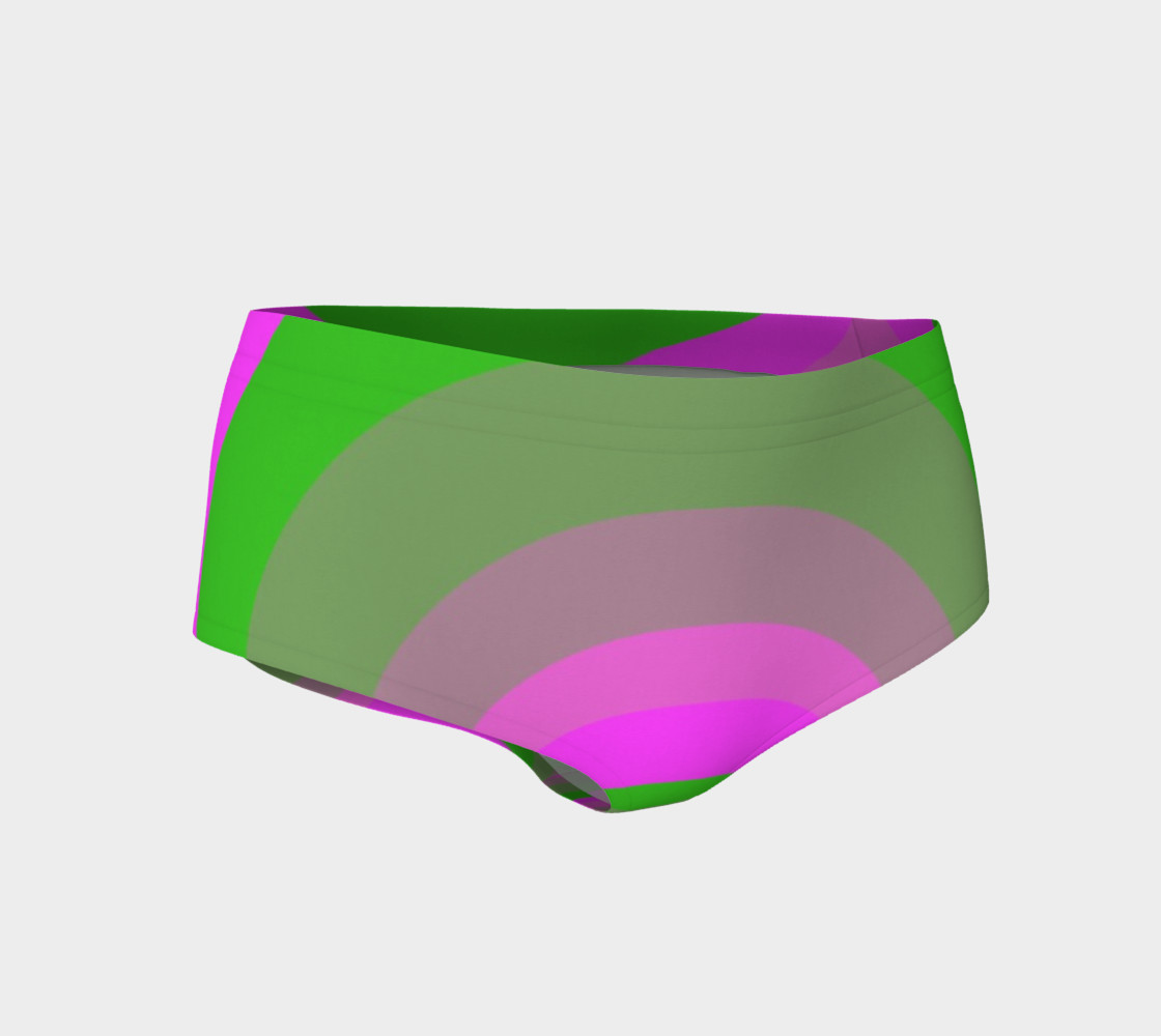 Retrofied Neon Pink Green Women's Fitness Mini Shorts  3D preview