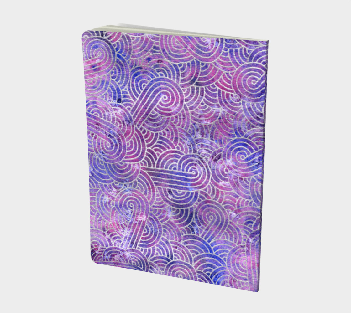 Purple and faux silver swirls doodles Large Notebook preview #2