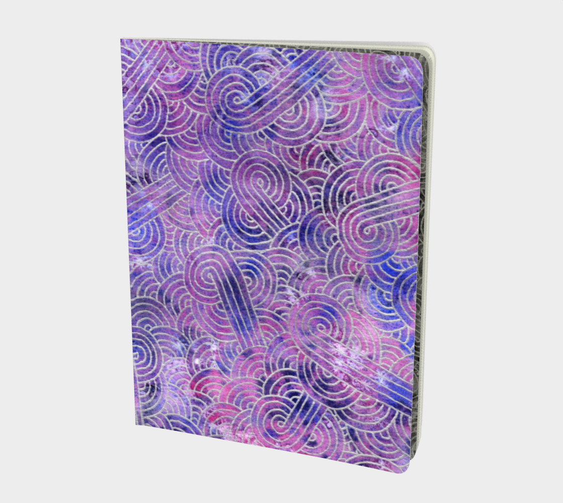 Purple and faux silver swirls doodles Large Notebook preview #1