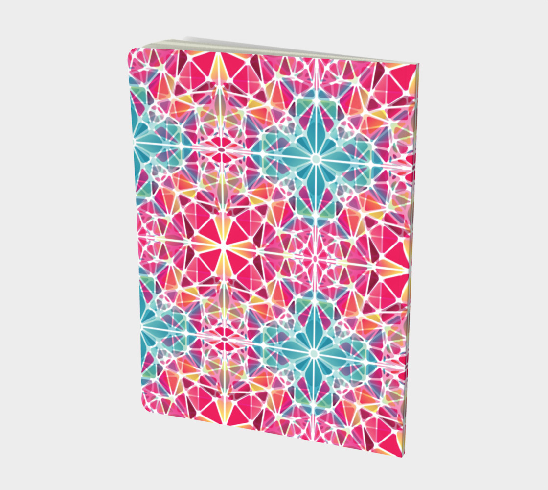 Pink and Blue Kaleidoscope Notebook - Large preview #2