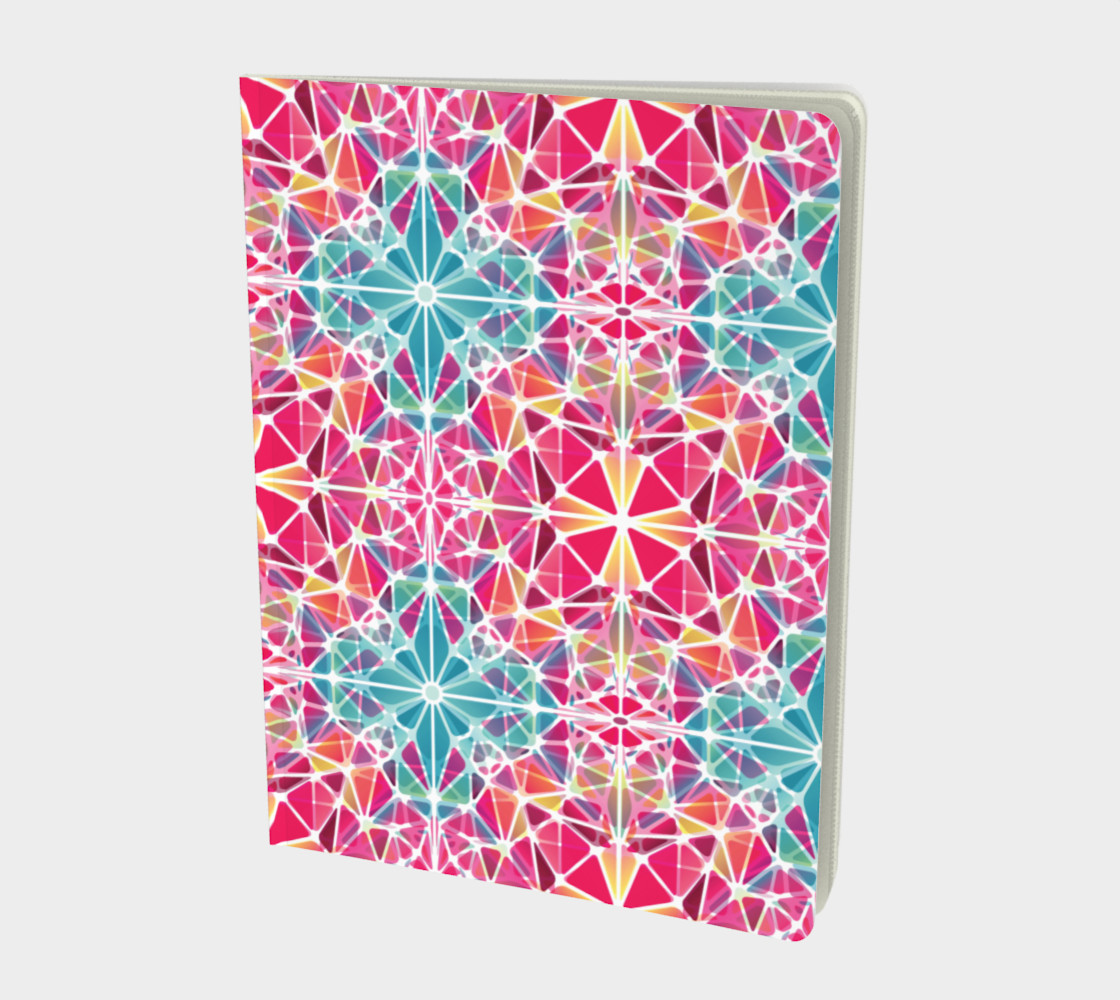 Pink and Blue Kaleidoscope Notebook - Large preview #1