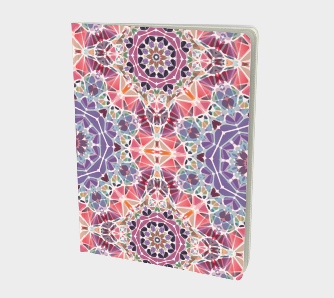 Purple and Pink Kaleidoscope Notebook - Large preview #1