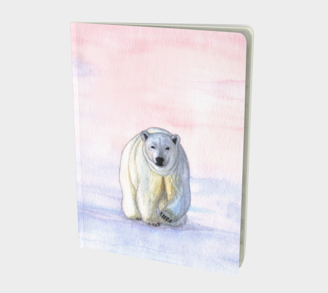 Polar bear in the icy dawn Large Notebook preview #1