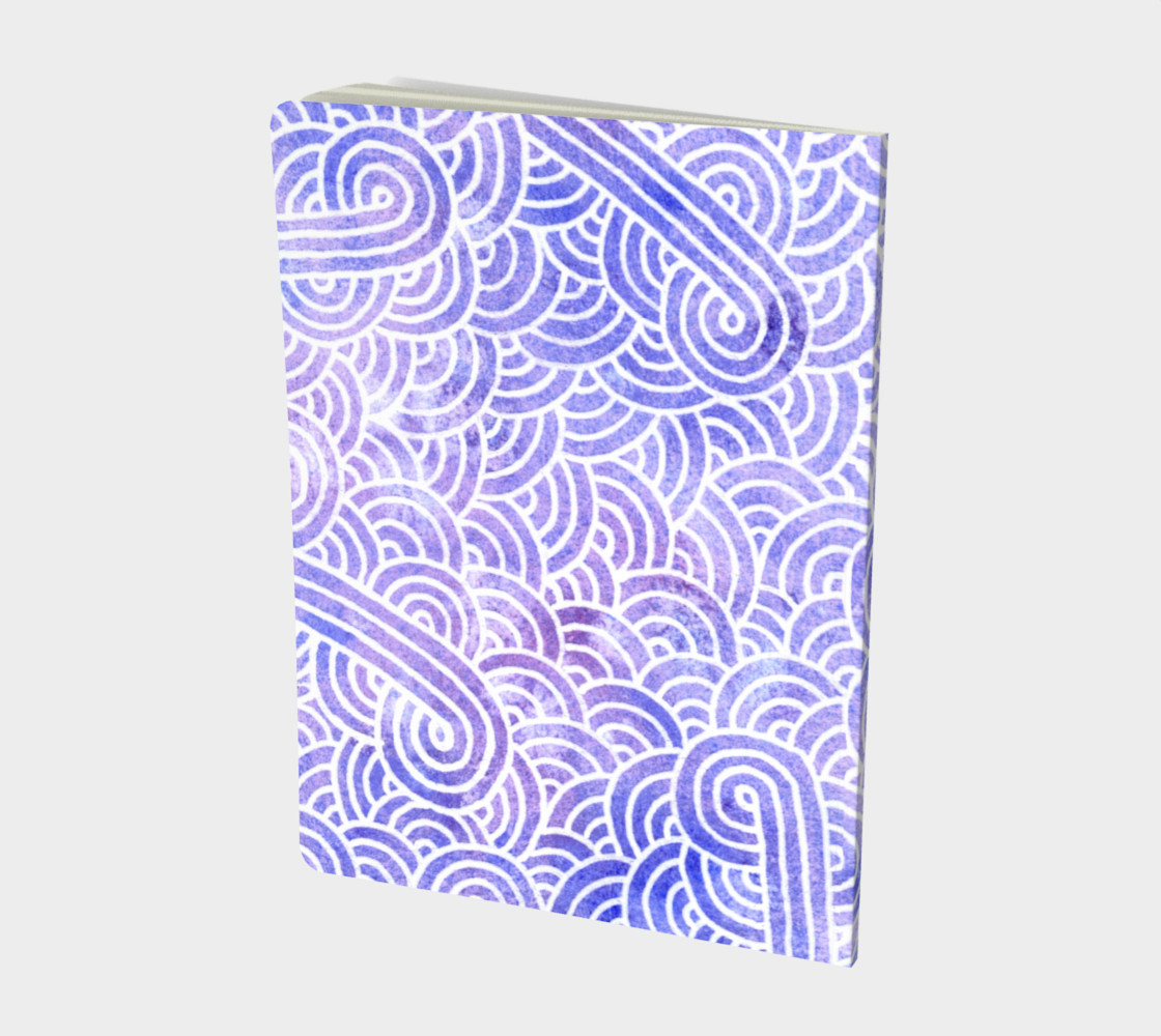 Lavender and white swirls doodles Large Notebook preview #2