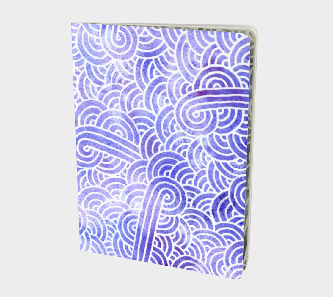 Lavender and white swirls doodles Large Notebook preview #1
