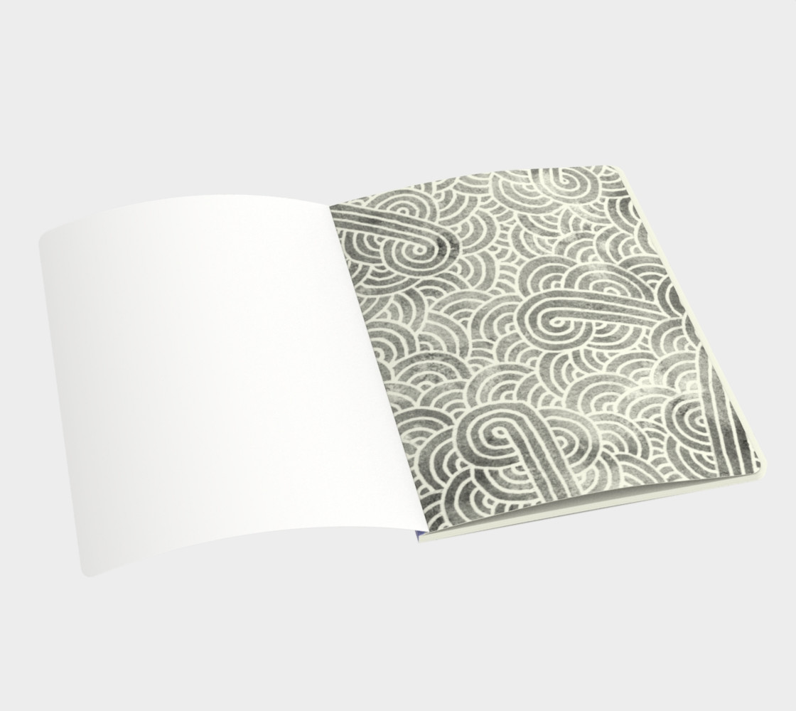 Lavender and white swirls doodles Large Notebook preview #3