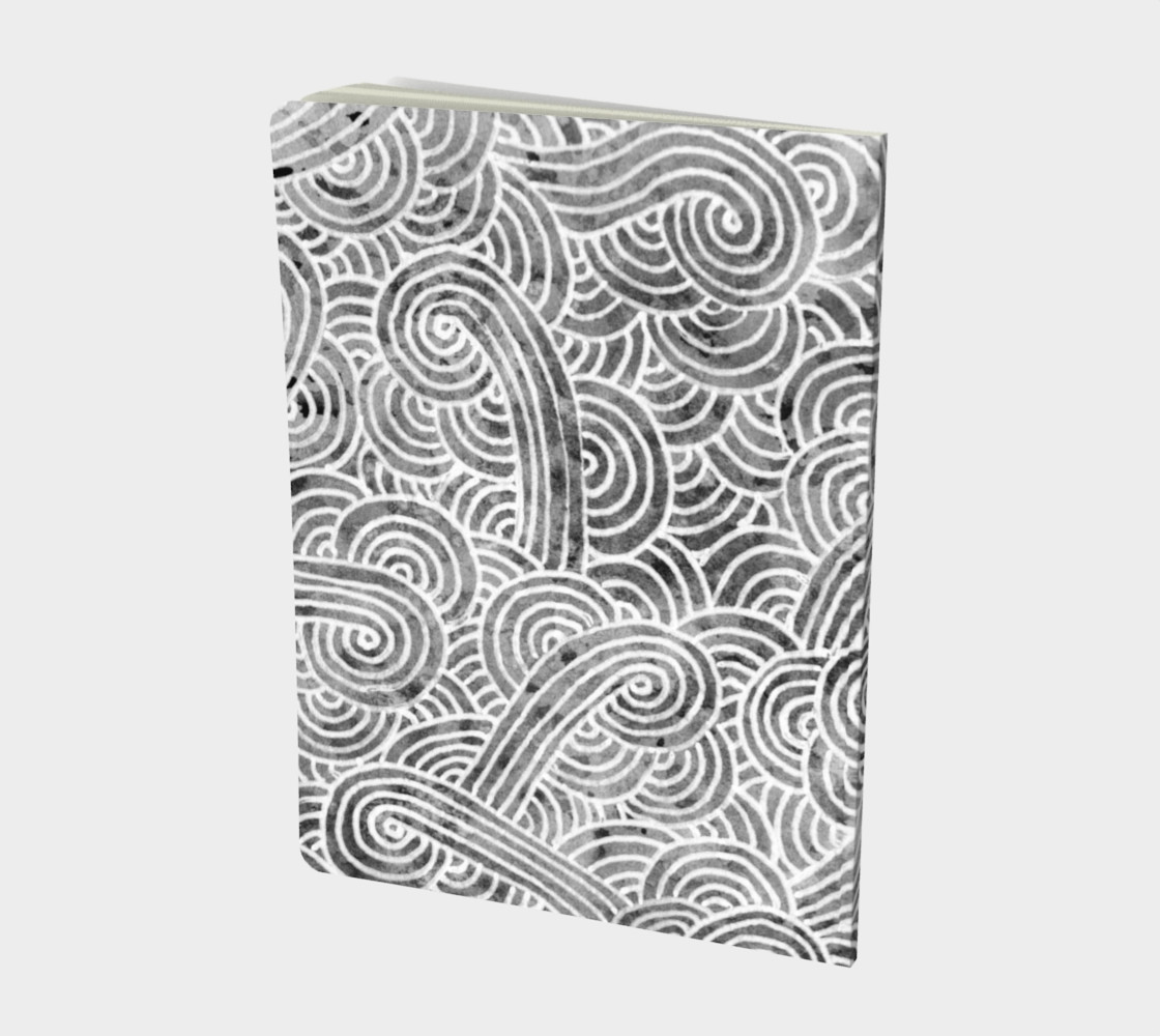 Grey and white swirls doodles Large Notebook preview #2