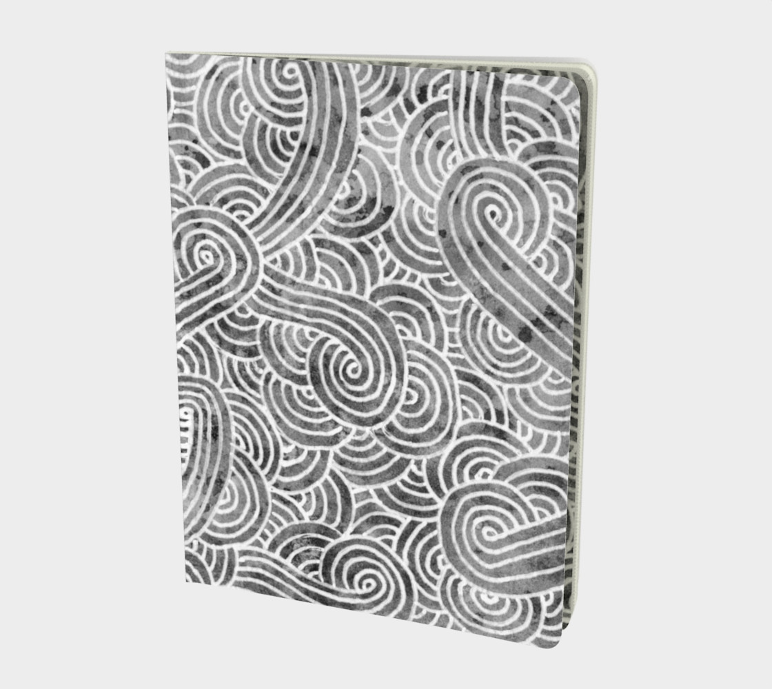 Grey and white swirls doodles Large Notebook preview #1