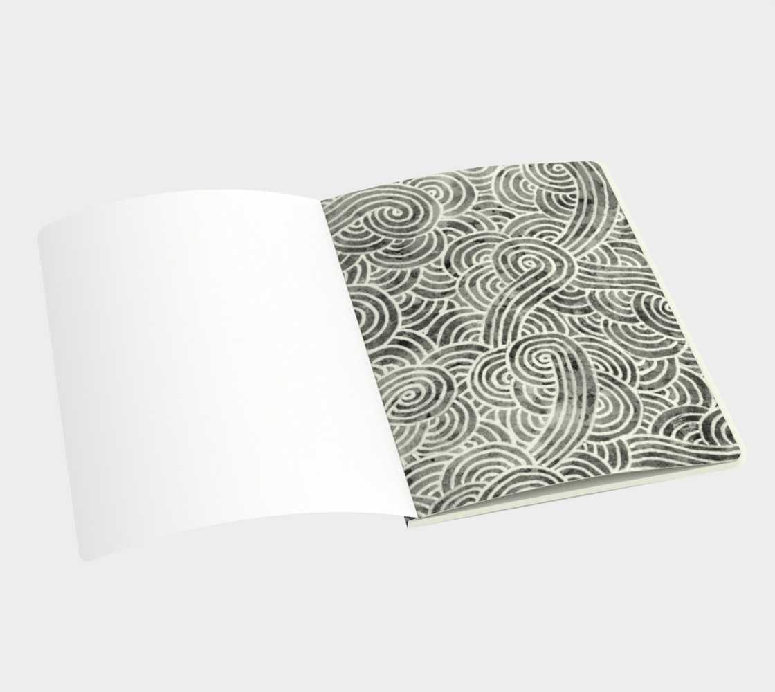 Grey and white swirls doodles Large Notebook preview #3
