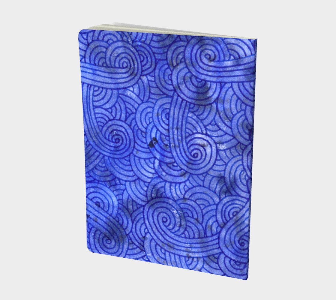 Royal blue swirls doodles Large Notebook preview #2