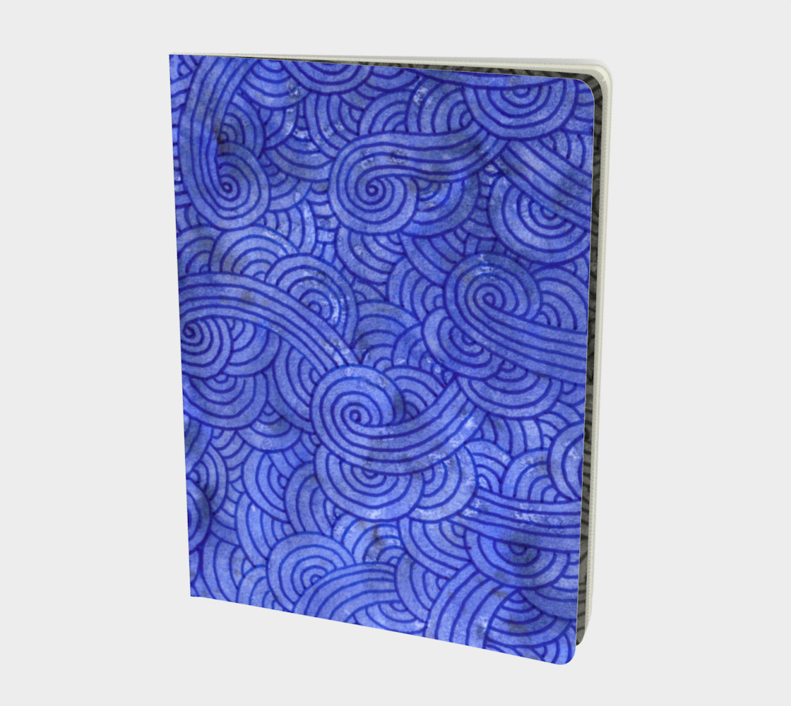 Royal blue swirls doodles Large Notebook preview #1