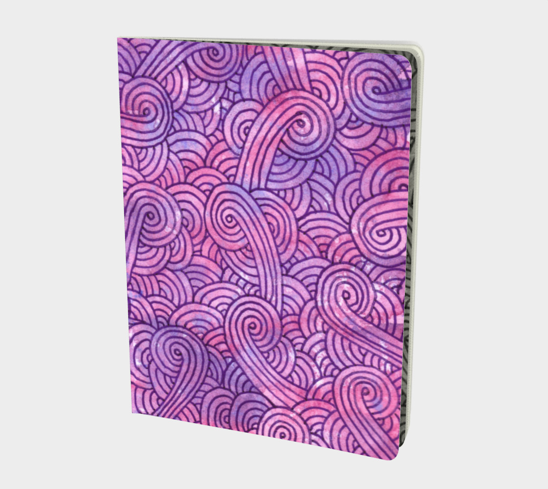 Neon purple and pink swirls doodles Large Notebook preview #1