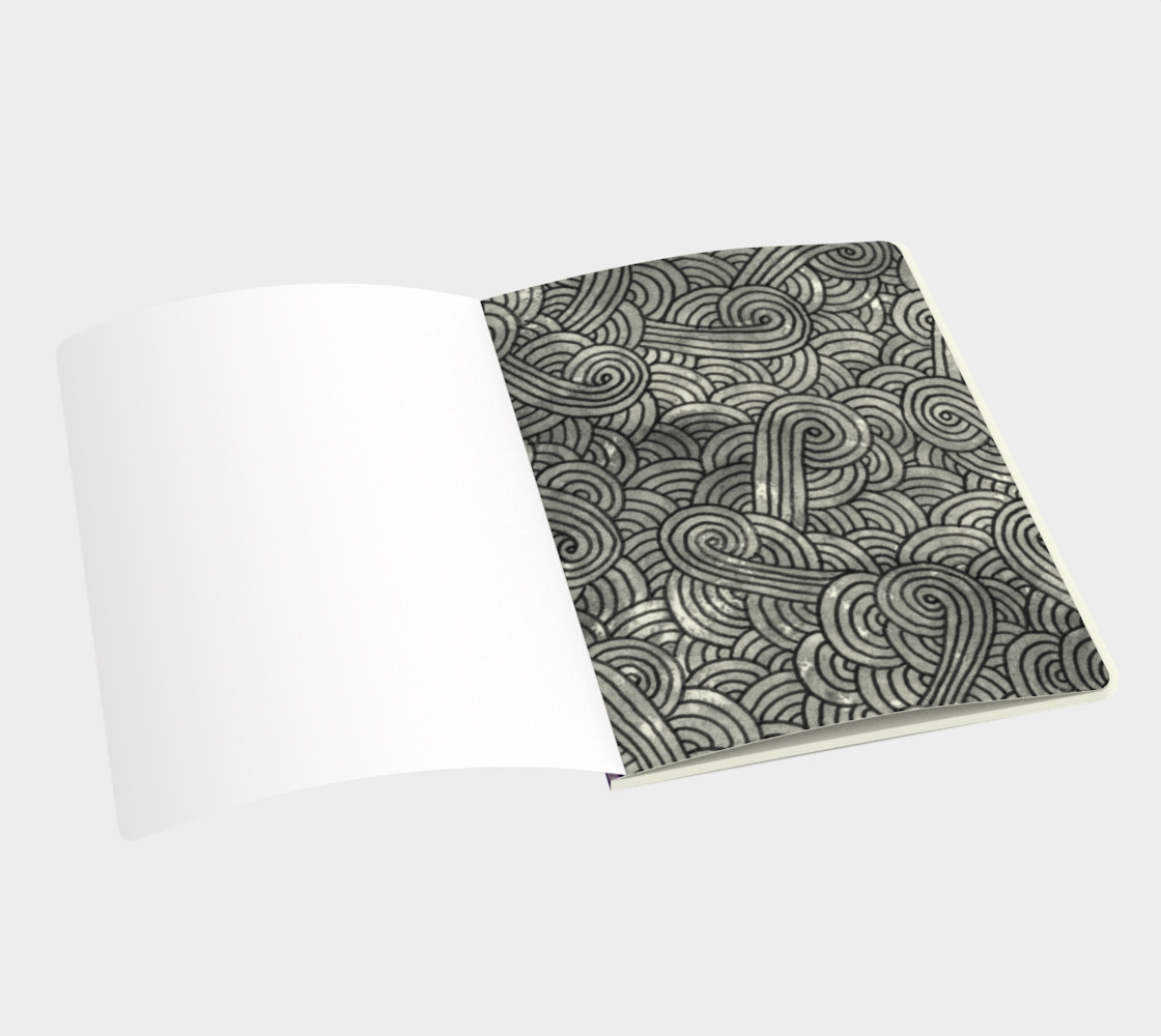 Purple swirls doodles Large Notebook preview #3