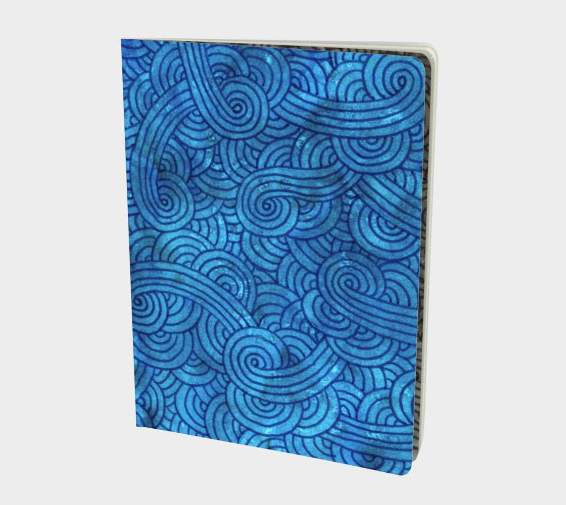 Turquoise blue swirls doodles Large Notebook preview #1