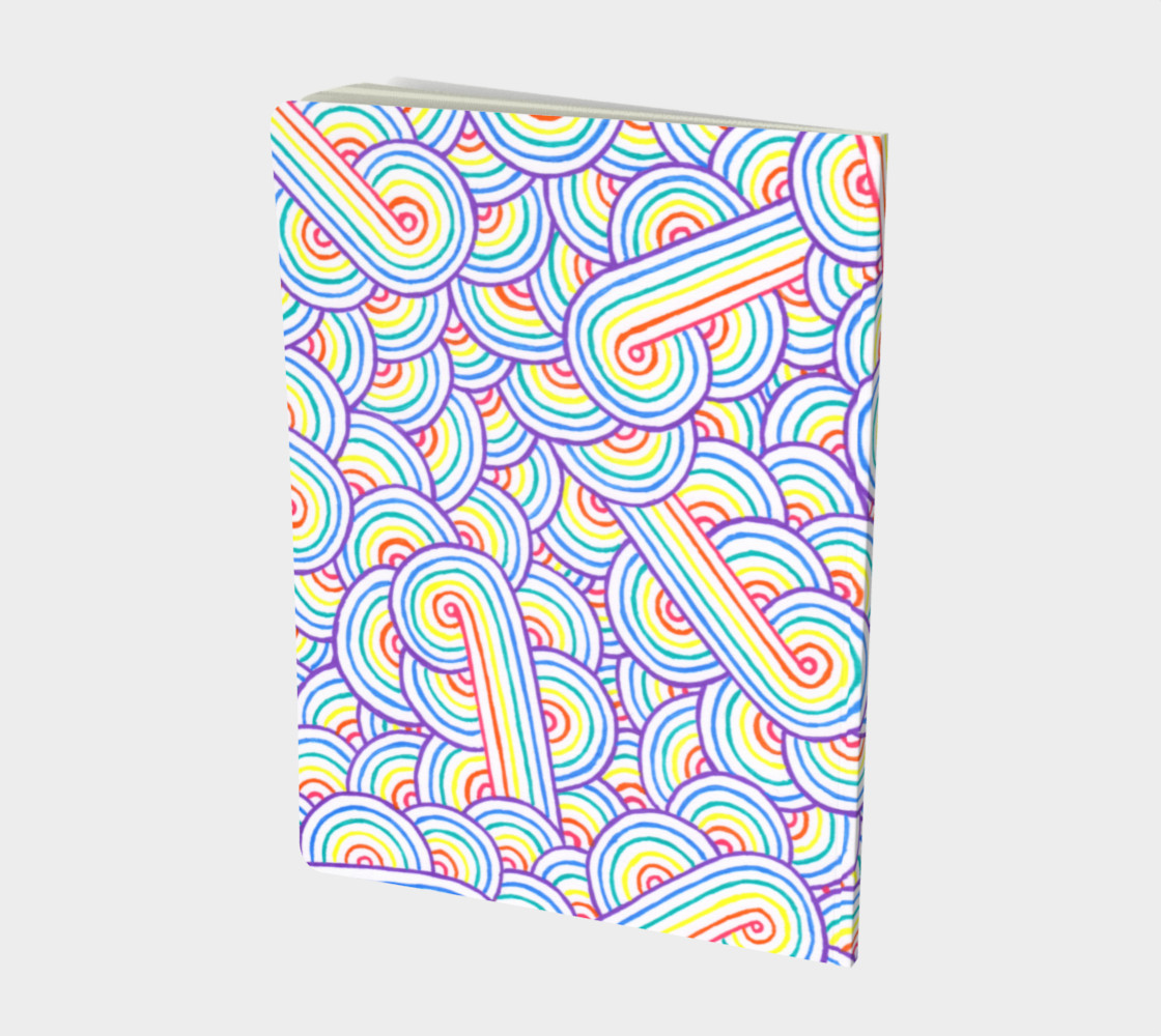 Rainbow and white swirls doodles Large Notebook preview #2
