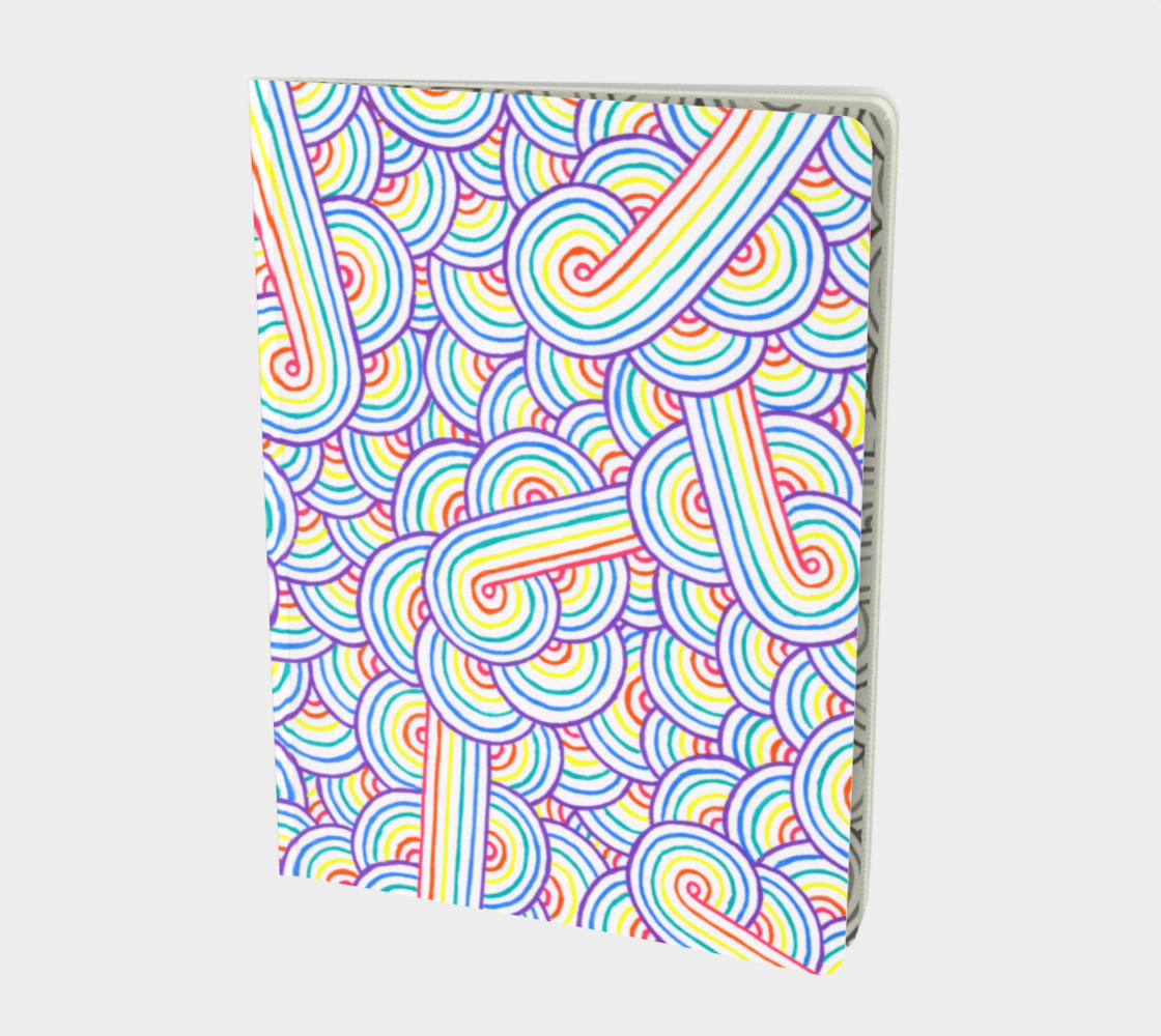 Rainbow and white swirls doodles Large Notebook preview #1